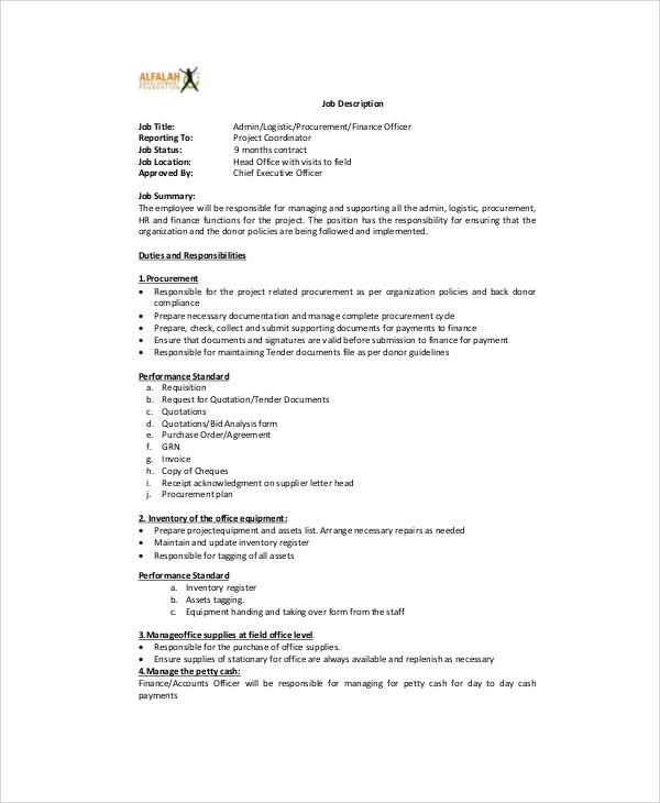 Logistics Officer Job Description Sample   Examples In Word Pdf