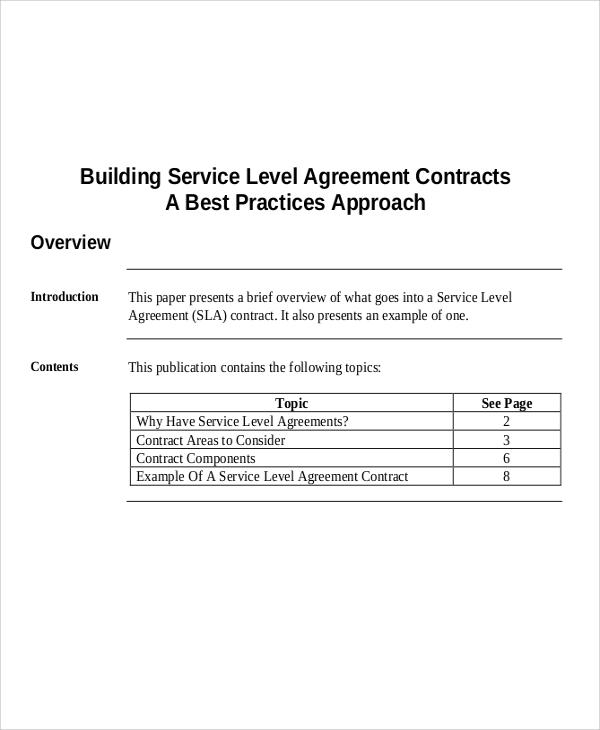 service level contract agreement