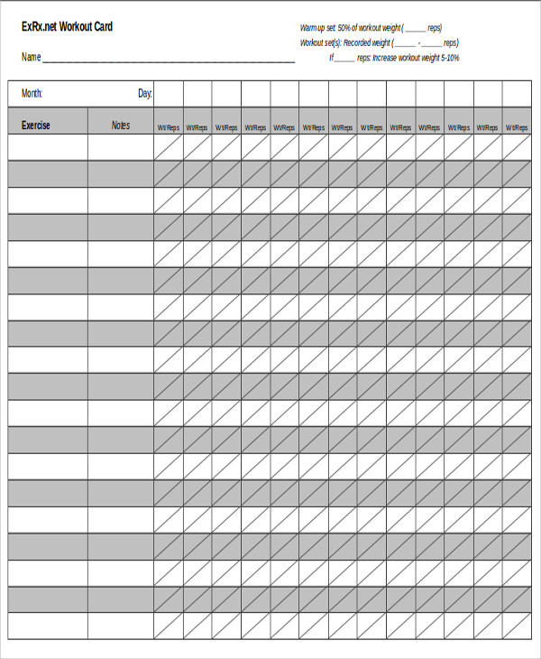 Blank Workout Sheet Sample 5+ Examples In Word, Pdf