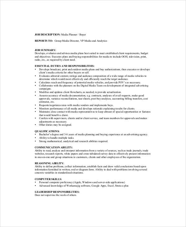 Media Planner Job Description Sample - 6+ Examples in Word, PDF