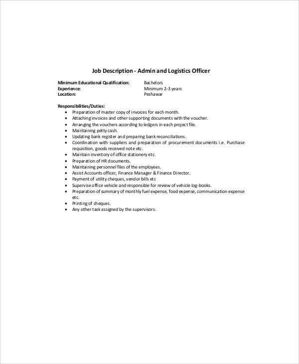 Logistics Manager Cv Template Example Job Description – Logistics Manager Job Description