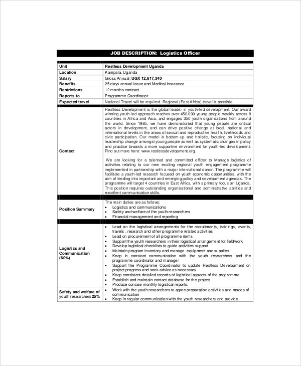 8 logistics officer job description samples sample - Legal compliance officer job description ...