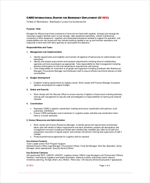 Logistics Coordinator Job Description Sample   Examples In Word Pdf