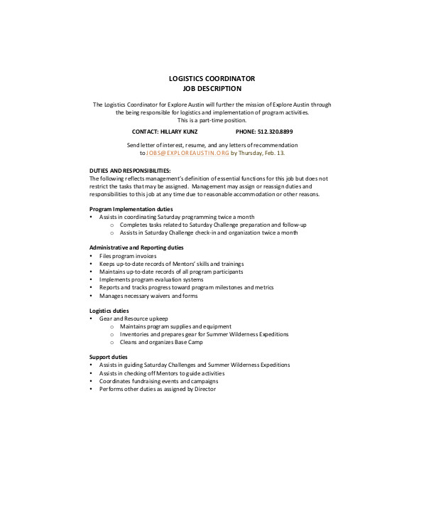 Project Coordinator Job Description | 9 Logistics Coordinator Job Description Samples Sample Templates