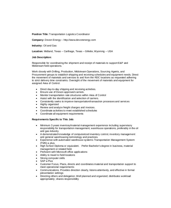 Logistics Coordinator Job Description Sample - 9+ Examples In Word