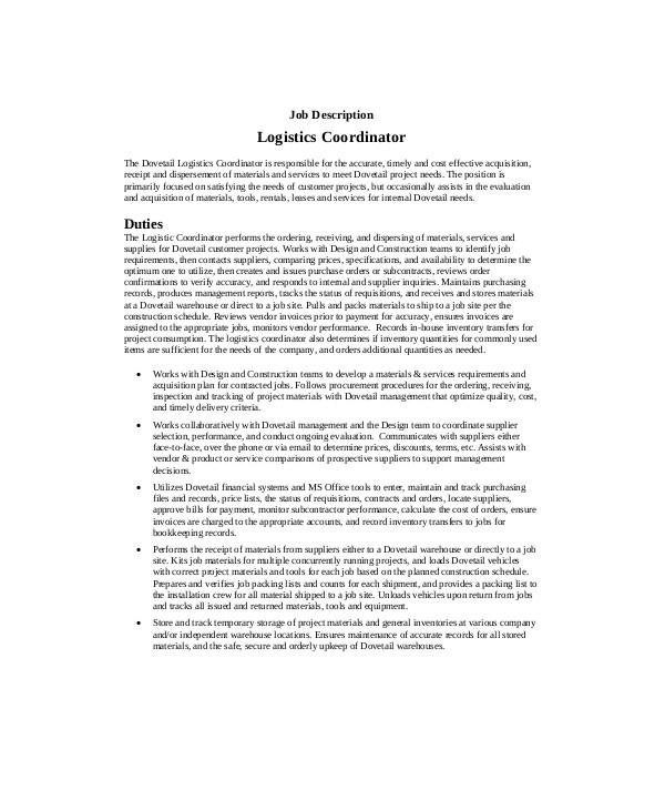 logistics coordinator job description duties