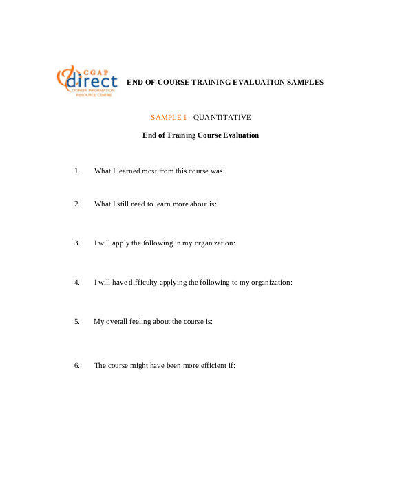 Sample Course Evaluation Form   Examples In Word Pdf