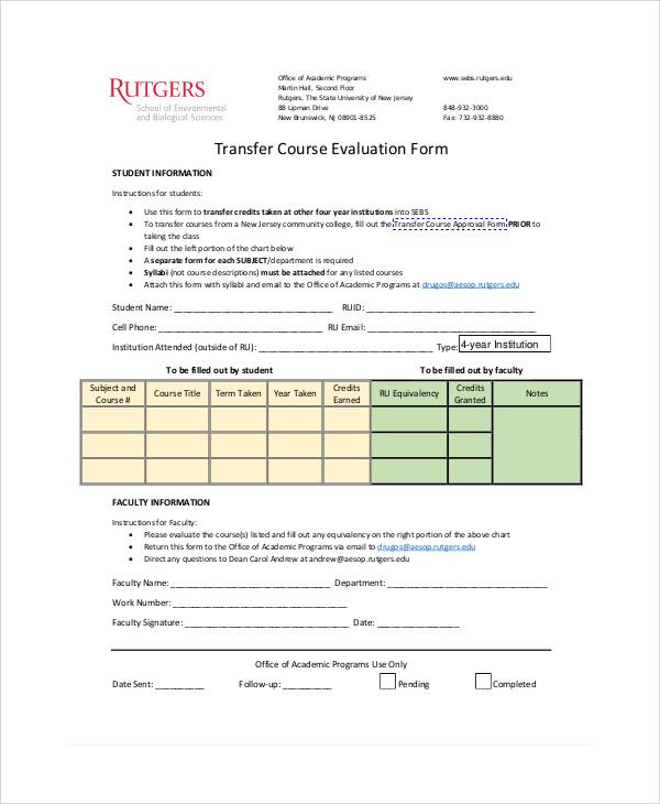 transfer course evaluation form