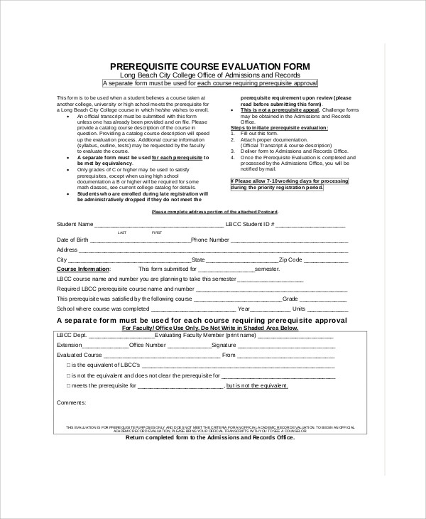Sample Course Evaluation Form - 9+ Examples In Word, Pdf