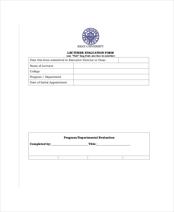 university lecturer evaluation form