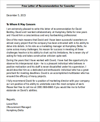 Sample Recommendation Letter For Coworker   Examples In Word Pdf