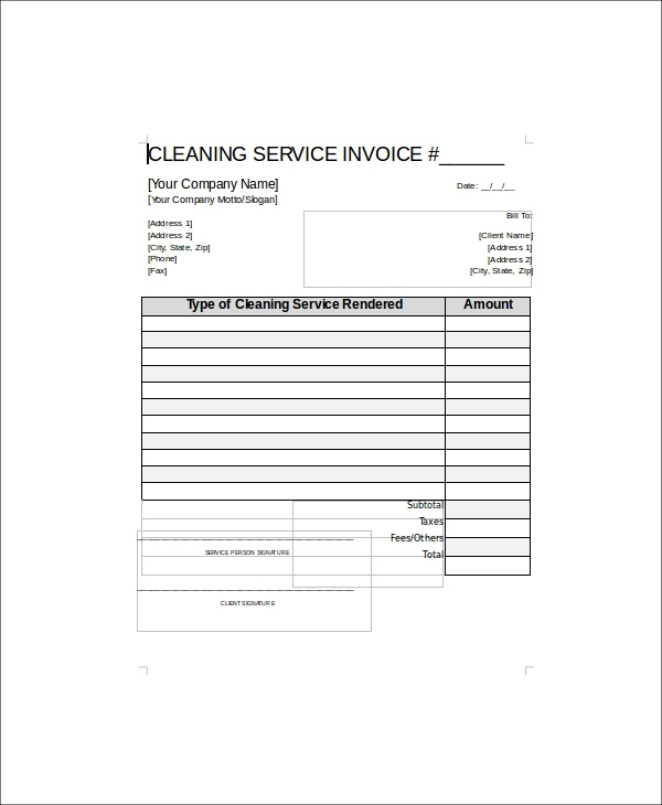 Sample Cleaning Service Receipts Sample Templates - Cleaning services invoice sample