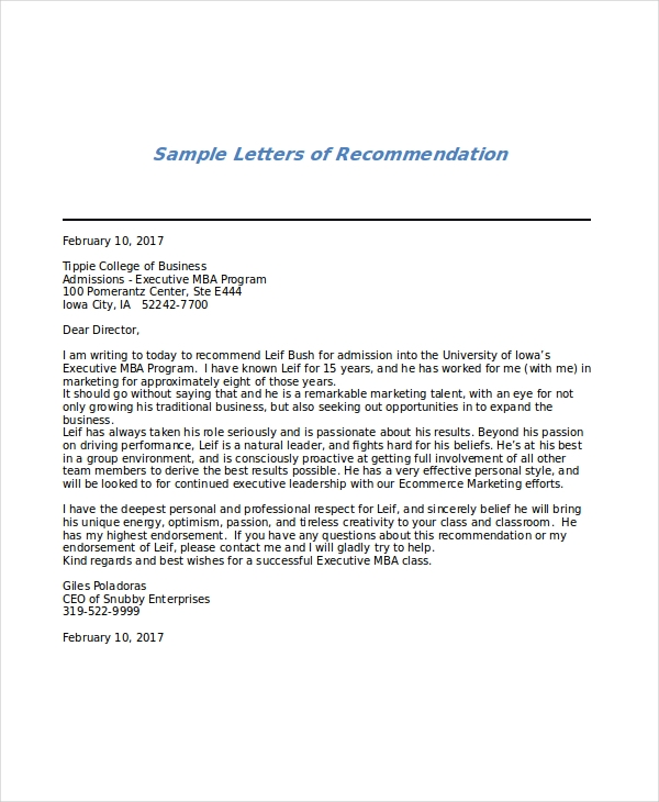 Executive MBA Recommendation Letter Sample  Sample Letter Of Recommendation