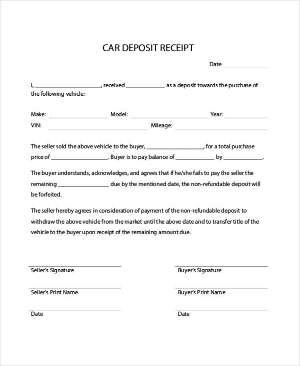 deposit form for car  down payment receipt form - Yatay.horizonconsulting.co