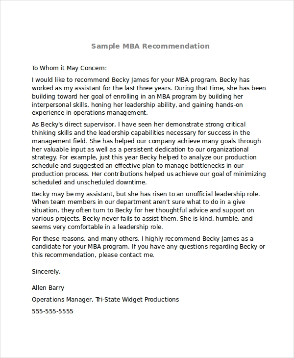 Sample Mba Recommendation Letter   Examples In Word Pdf