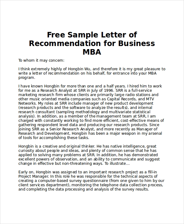 Sample MBA Recommendation Letter - 6+ Examples in Word, PDF
