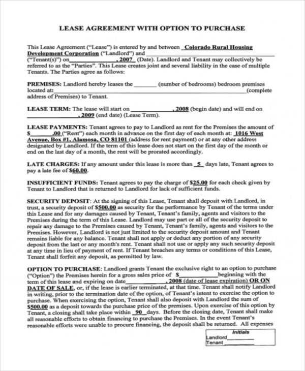 Rent-To-Own Home Contract - 6+ Examples In Word, Pdf