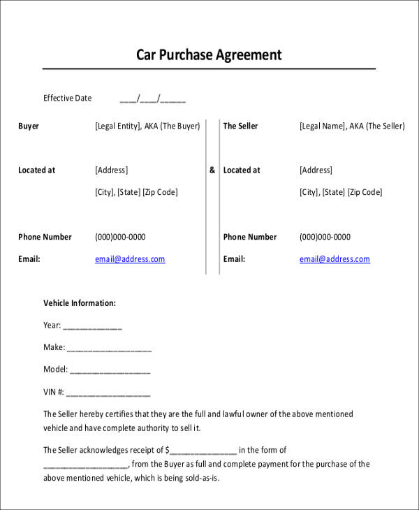 Car Purchase Agreement Template  Car Purchase Agreement With Payments