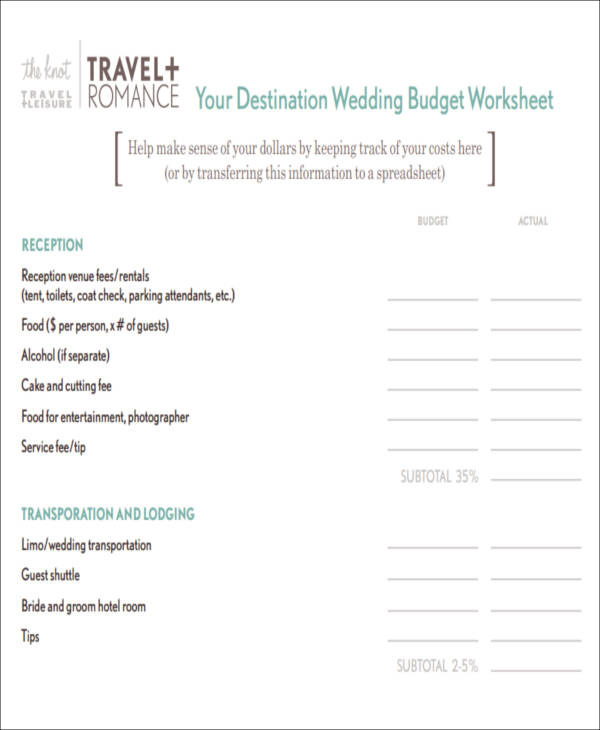 Wedding Budget Worksheets