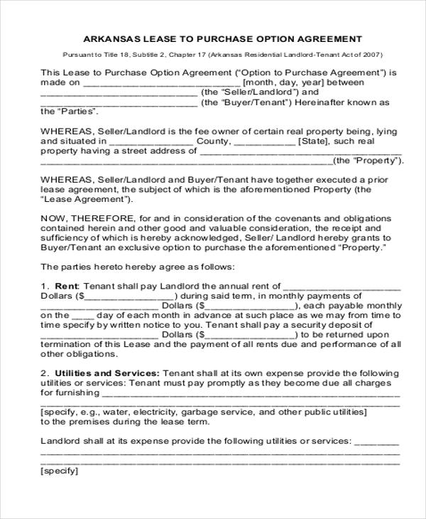 RenttoOwn House Contract 5 Examples in Word PDF – Rent to Own House Contract