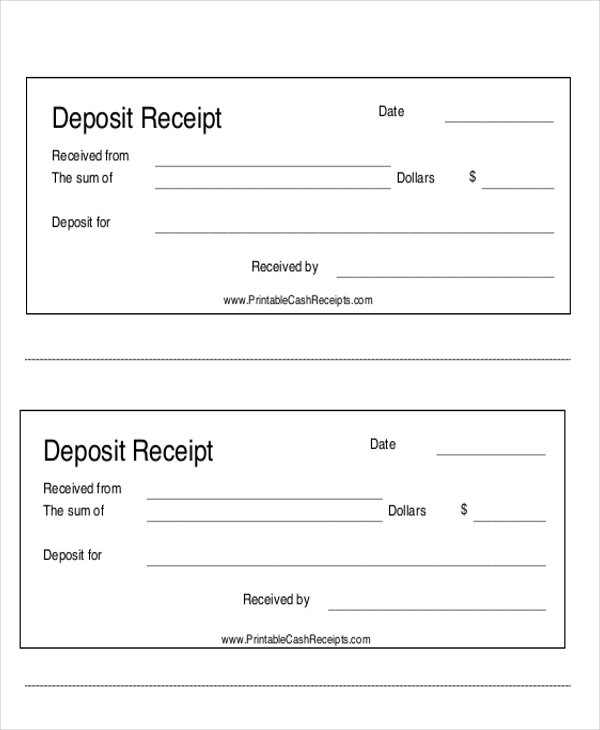 down payment receipt form