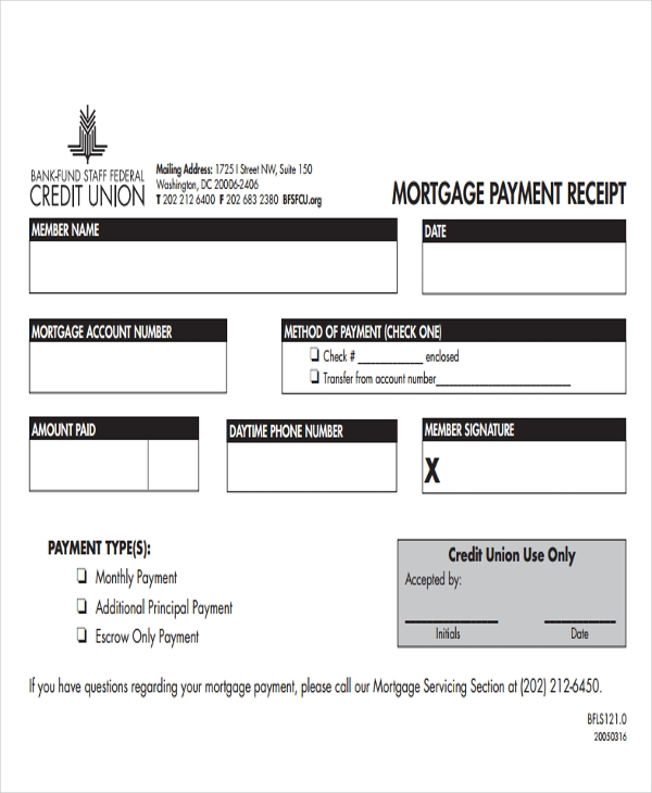 mortgage payment receipt form pdf