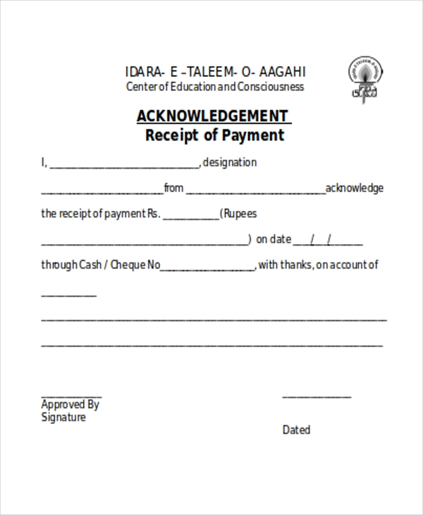 payment receipt acknowledgement form3