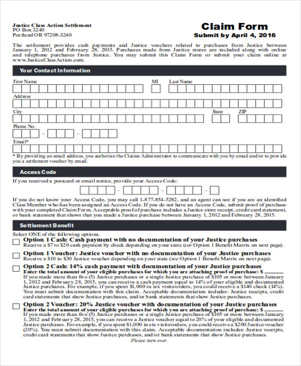 payment receipt settlement claim form