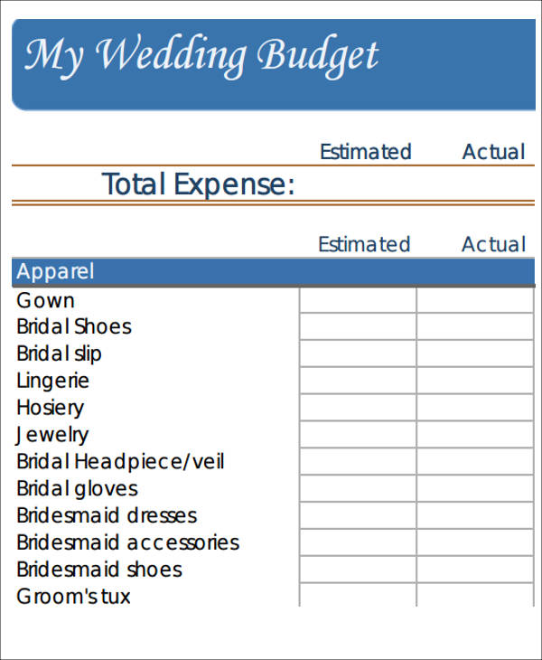 Blank Wedding Budget Worksheet. The Wedding Planner.com
