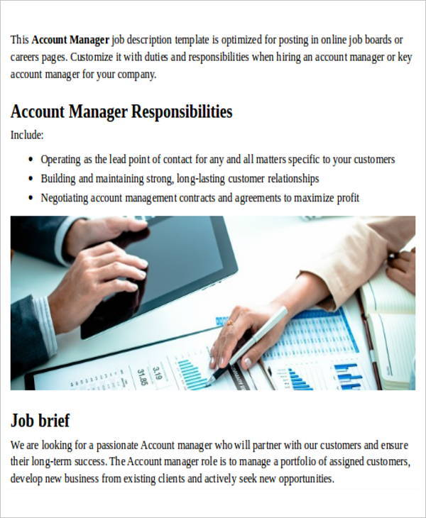 Account Management Job Description Sample   Examples In Word Pdf