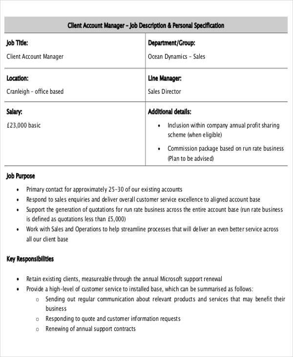 client account management job description pdf