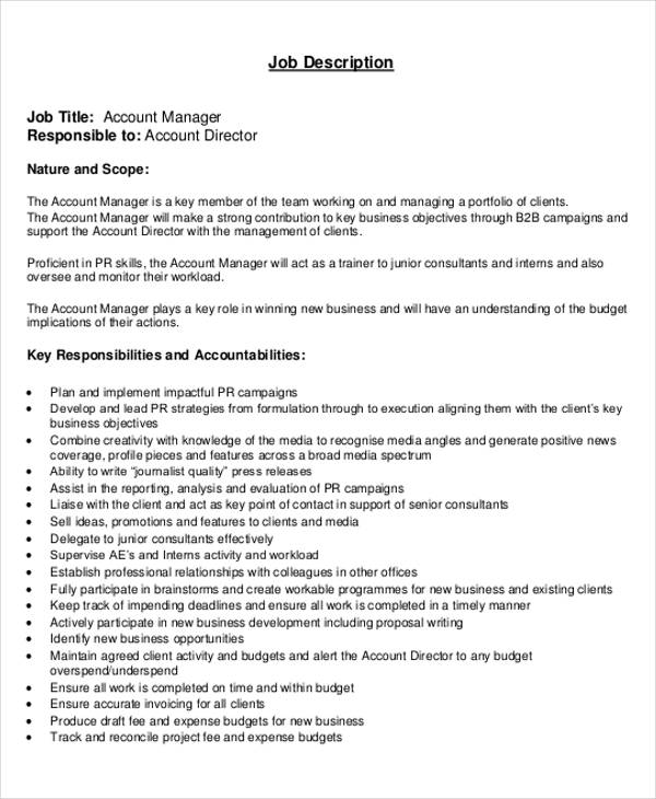 Attractive Account Management Director Job Description
