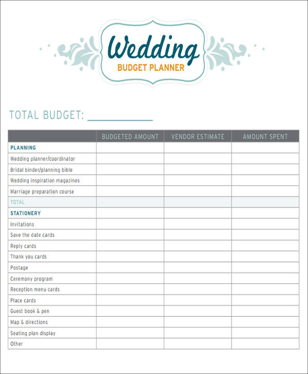 wedding planning budget sheet