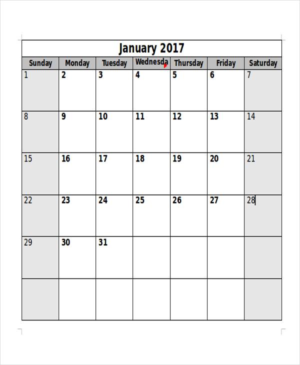 free monthly printable blank calendar3