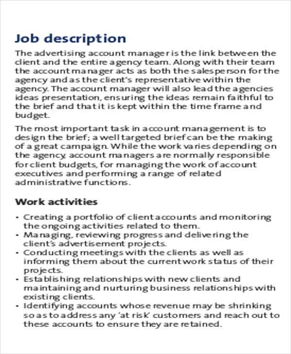 Account Management Job Description Sample 8 Examples In