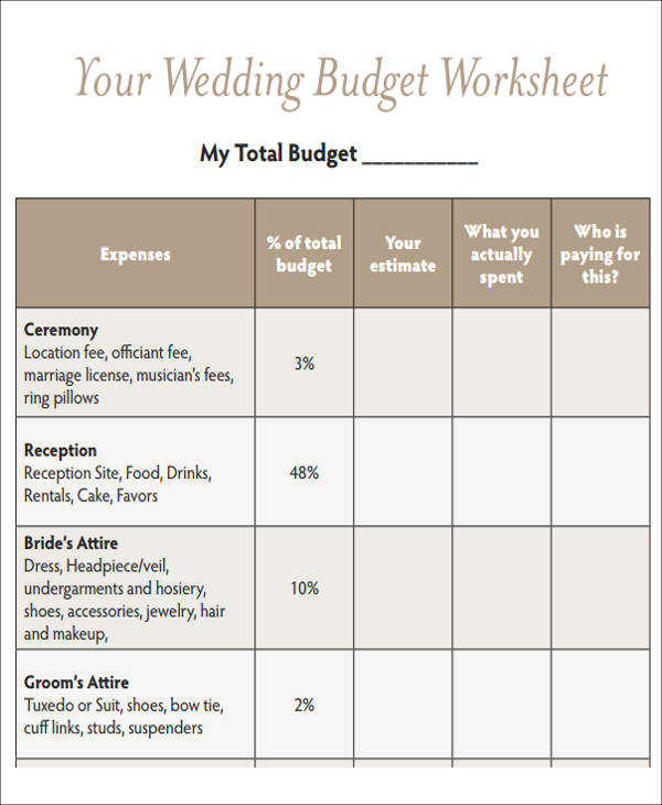 Budget planner worksheet for a wedding