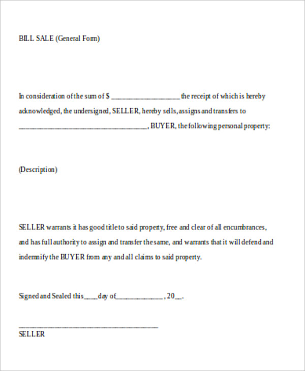 Legal Bill Of Sale 7 Examples In Word Pdf