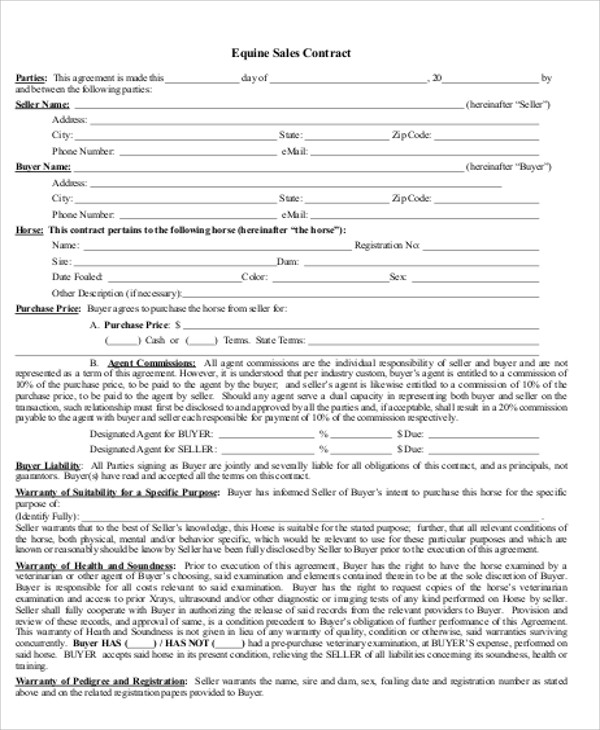 Sample Horse Sales Contract 5 Examples in Word PDF – Horse Sales Contract