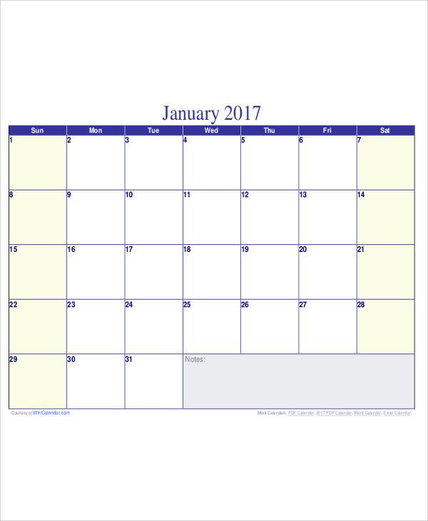 Blank Calendar PDF Sample - 5+ Examples in Word, PDF