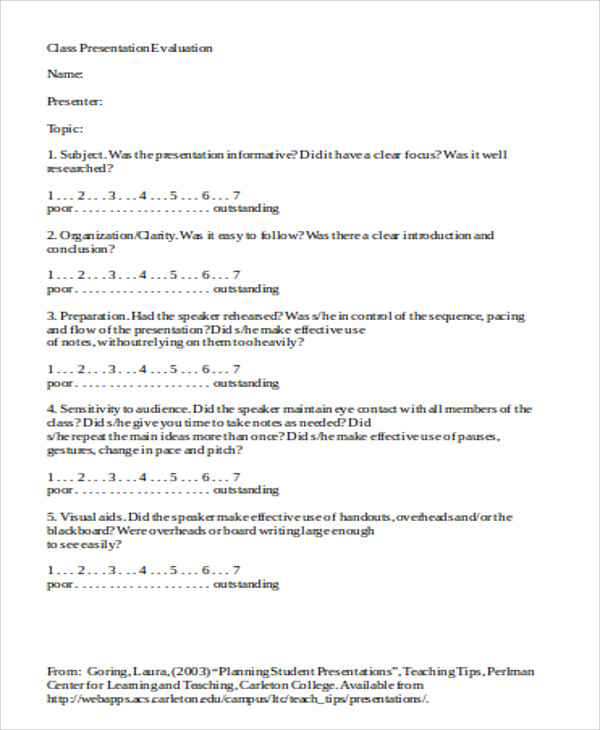 Sample Presentation Evaluation Form In Doc   Examples In Word