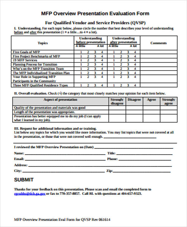 Sample Presentation Evaluation Form In Pdf - 10+ Examples In Pdf