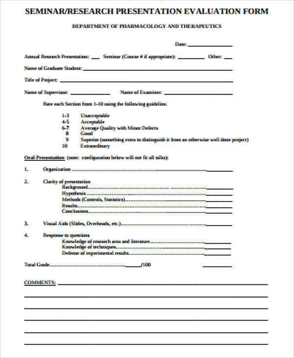 Research Presentation Evaluation Form