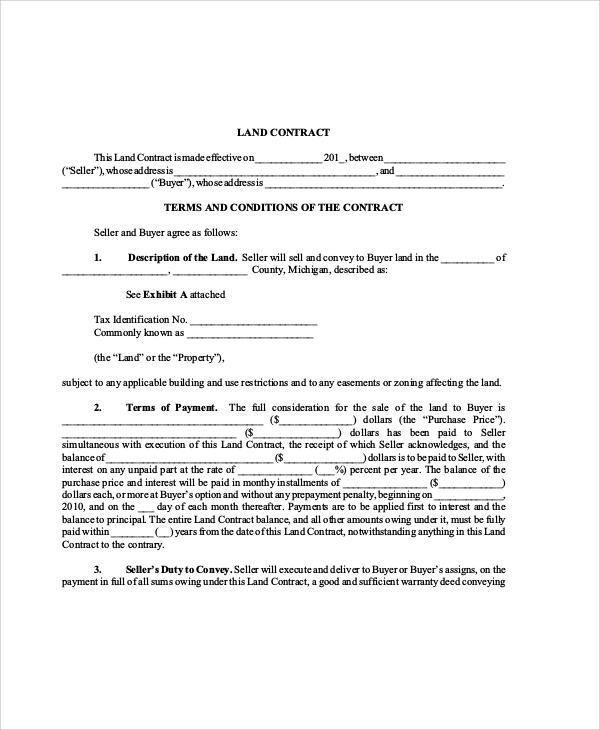 Land Contract Basics Land Sale Land Contract Templates Free