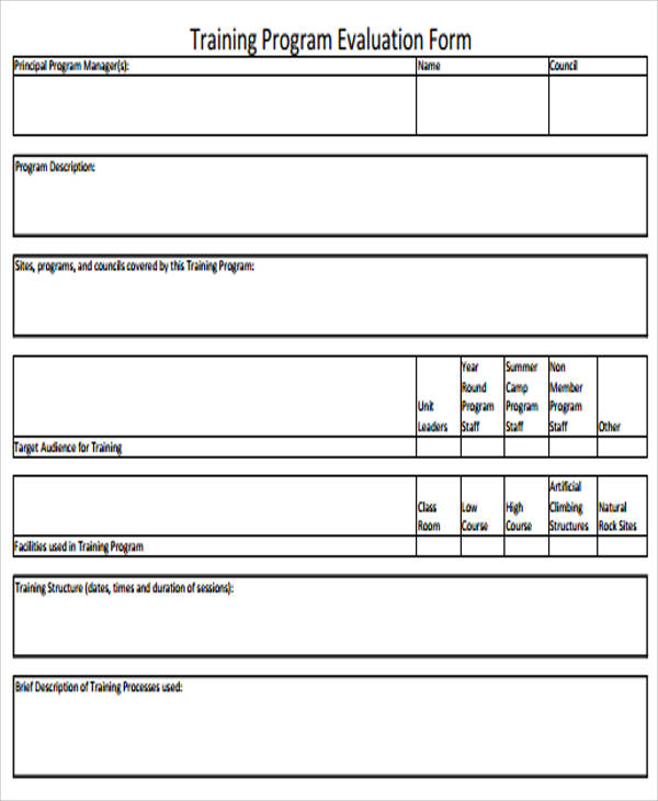 training program evaluation form