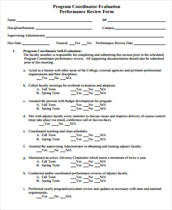 program coordinator evaluation form