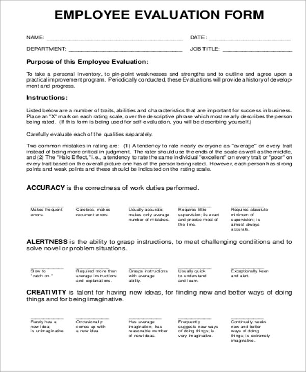 blank employee evaluation form