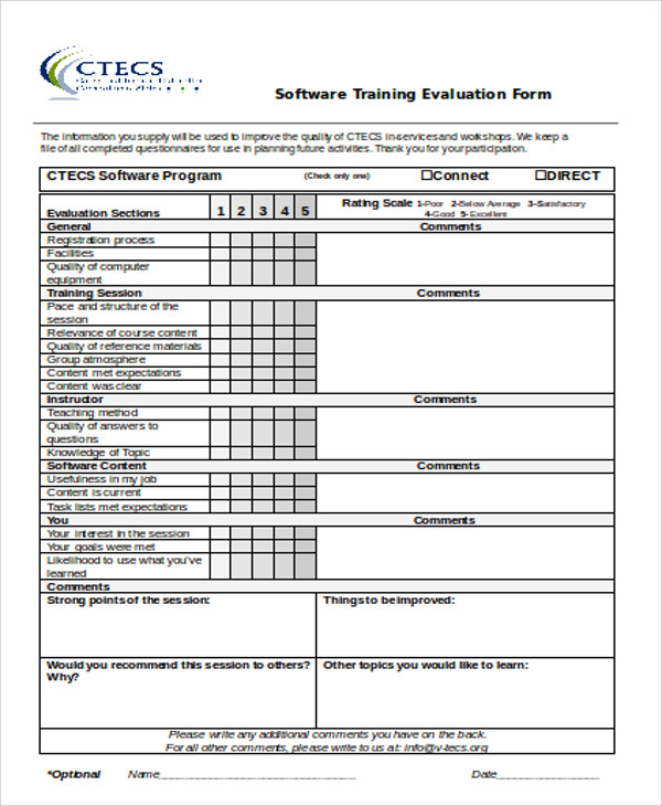 Sample Training Evaluation Form In Doc   Examples In Word