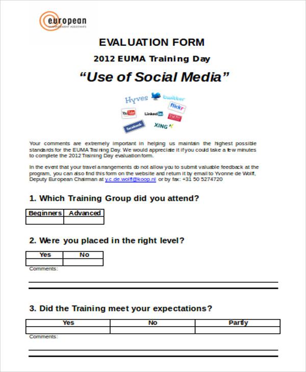 social media training evaluation form