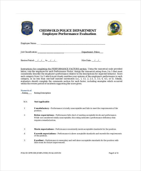 police officer employee evaluation form
