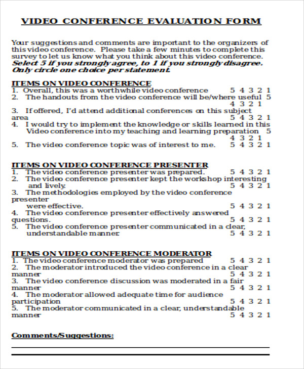 Sample Conference Evaluation Form In Word   Examples In Word